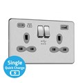 Slimline Screwless 13A 2G Switched Socket with Dual USB Charger (4A - Type A + Type C Quick charge)