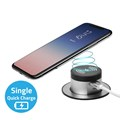 Desktop Wireless Charger with 4A Dual USB Quick Charger  (Type A + Type C Single Quick charge)-Black
