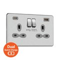 13A 2G Switched Socket with Dual USB Quick Charger (4A - Type A + C)
